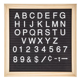 "Black Felt Letter Board With White Letters - 11 3/4"" x 11 3/4"""